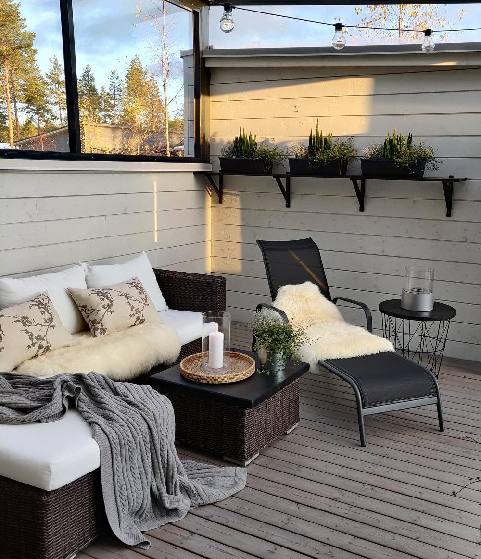 Kalusteiden kierrätystä kotona ja terassin talvilook